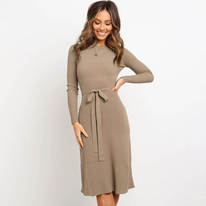 Wholesale Autumn and Winter Designer Womens Dresses Luxury Dress for Women Tight Long sleeve Brand Womens Dresses with Knee Length Highly Quality