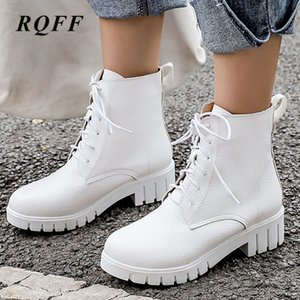 Wholesale Black Red White Autumn Winter Ankle Boots for Women Fashion Med Block Heel Boot Lace Up Plus Big Size Platform Shoes Woman Pu