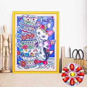 Wholesale Special Shape Diamond Embroidery Cat Partial Diamond Painting Animal Picture Of Rhinestone Mosaic x50 Gift