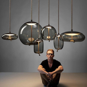 Wholesale modern round pendant lights resale online - Modern Led Pendant Lights Wrought Iron Glass Round Ball Brass Rod kitchen Hanging Lamps Living Room cafe Nordic light fixtures