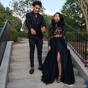New Black Long Sleeve Prom Dresses 2019 Formal Evening Party Pageant Gowns African Two Pieces Dress High Neck Plus Size Custom Made on Sale