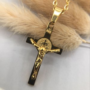 Wholesale Mens Charm Cross Pendant Chokers Necklaces Fashion Hip Hop Jewelry k Gold Plated Design cm Long Chain Punk Rock Filling Pieces Mens