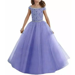 Lovely Girls Pageant Dresses Off Shoulders Crystals Beaded Corset Back Flower Girl Dresses Organza Kids Formal Wear on Sale