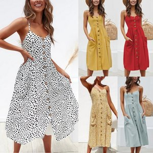 Wholesale Nice Fashion Summer Sexy Long Dress Casual Button Slim Beach Seaside Sleeveless Dress Women Vestidos De Verano Women Dress