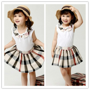 Wholesale Children s Clothing New Fashion Summer Girls Classic Plaid Skirt Vest Two piece European and American Classic Clothe Set