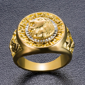 Wholesale Hiphop Rock Golden lion pattern Finger ring for men male Fashion Jewelry Anel big size