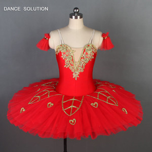 Wholesale Spanishe Red Spandex Bodice Professional Ballet Dance Tutu for Girls Women Performance Ballerina Dance Costume Tutus BLL042
