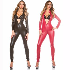 Wholesale Sexy Jumpsuit For Women s Vinyl Catsuit Latex Faux Leather Bodysuit Zipper Open Crotch PVC Leotard red black