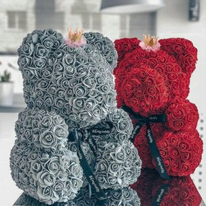 Wholesale 2019 Hot Sale cm Teddy Bear with Crown in Gift Box Bear of Roses Artificial Flower New Year Gifts for Women Valentines Gift T191102
