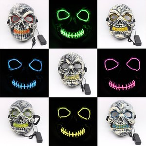 Wholesale EL Wire Halloween Masks LED Horror Party Masquerade Masks Skull Full Face Masks Festival Cosplay Costume Supplies Glow In Dark MMA2301
