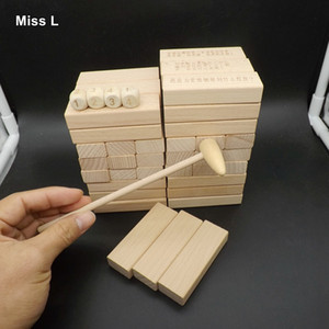 Wholesale Natural Color Blocks Stack Up Hardwood Game Play With Hammer Wooden Toy Kid Adult Game