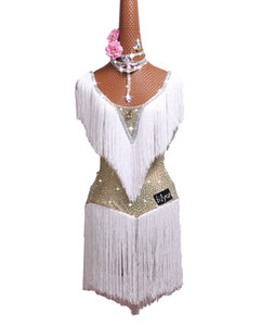 Latin dance costume latin dance performance dress white skirt fringed skirt adult bright children diamant
