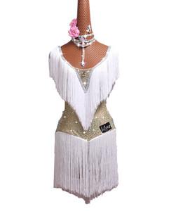 Latin dance costume latin dance performance dress white skirt fringed skirt adult bright children diamant