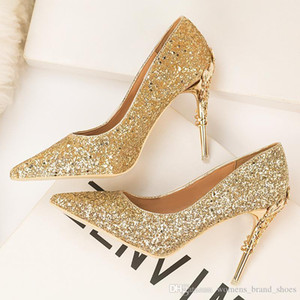Wholesale 2019 fashion brand stylish sexy nightclub women s shoes with metallic heels thin heels high heels shallow tops pointed toes and sequins