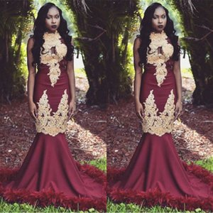 Vintage Burgundy Mermaid High Neck Gold Appliques Prom Dresses With Feather Black Girls South African Evening Gowns BC1143 on Sale