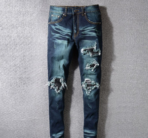 Wholesale Mens Designer Jeans Fashion Brand Retro Dark Blue Hole Denim Pants Ripped Distressed Slim Pencil Pants Motorcycle Pants