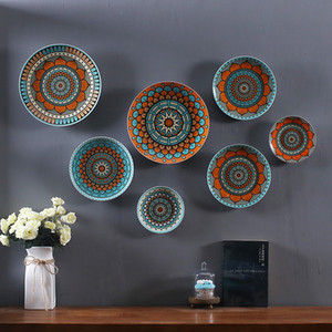 Wholesale set of 7 Ceramic Plates , Wall Hanging, Exquisite Colors Decorative Ceramic Hanging, Exquisite Colors Decorative Large