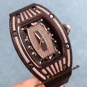 Luxry RM07-01 NTPT Rose Gold Diamond Black Dial Black PVD Titanium Case Automatic Mechanical RM007 Ladies Watch Rubber Strap Woman Watches on Sale