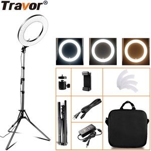 Wholesale Travor RL A Ring LED Light Dimmable Bi color K K Tripod Studio Annular Lamp For Makeup photography Lighting