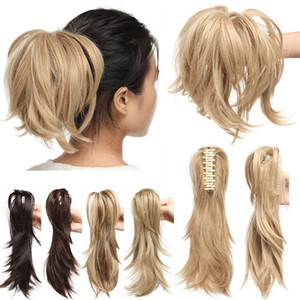 """12"""" Hair Piece Claw On Ponytail Synthetic Hair Clip In Hair Extensions Hairpiece Pony Tail Bendable For Women"""