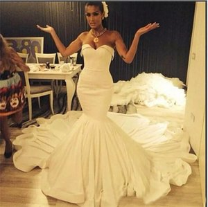 Wholesale African Mermaid Wedding Gown Custom Made Sweetheart Lace up Court Train Ruched Bridal Gowns Cheap Wedding Dresses