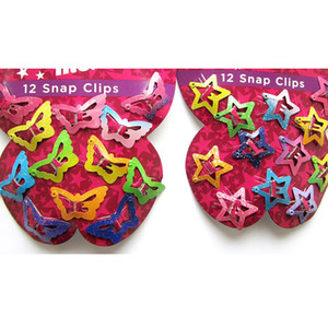 Hot 12PCS Mix Color Barrette Baby Hair Clip Cute Star Butterfly Shape Handmade Alloy Children Hairpin Girl Hair Clip Accessories