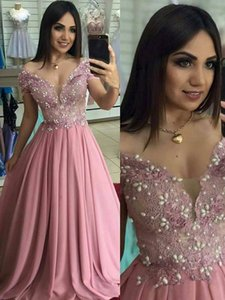 Wholesale Modest Dusty Rose Pearls Prom Formal Dresses Evening Gowns Off shoulders Applique Lace Beaded Chiffon Pageant Party Dress Cheap
