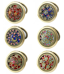 Wholesale Pocket Mirrors Retro Vintage Style Butterfly flower Peacock Makeup Cosmetic Pocket Compact Stainless Mirror DHL FEDEX