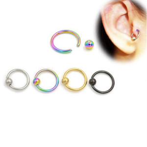 Wholesale nipple pierce jewelry resale online - Newest Surgical Steel Captive Bead Hoop CBR Earrings Belly Lip Eyebrow Nipple Helix Tragus Stud Nose Ring Body Piercing Jewelry