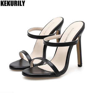 Wholesale High heels Shoes Woman leather Mules fashion Peep toe Slides Sandals Slippers hollow Slip on Simple Sandalias mujer black brown