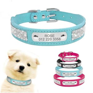 Wholesale Suede Leather Dog Collar Rhinestone Dogs Cat Personalized ID Collars Customized For Small Medium Pet Puppy Hot Pink Blue Black