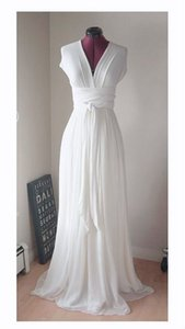 Wholesale Classic V neck Chiffon Boho Wedding Dresses with Short Sleeves Pleated Long Sweep Train White Ivory Wedding Bridal Gowns Cheap vestidos De