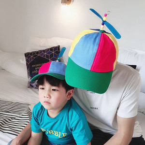Adult Helicopter Propeller Baseball Cap Color Patchwork Bamboo Puppet Boy Boy Girl Hat Toy Fashion Baby Kid Dad Cap
