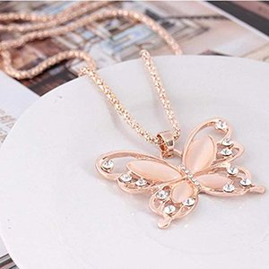 Wholesale 2019 K rose gold plated Sweater Chain Pendant Necklace Lucky Crystal Butterfly Long chain Necklaces Animal Pendant Necklace Jewelry M310F