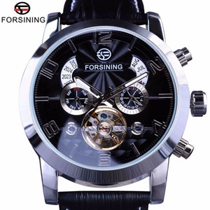Wholesale Forsining Hands Tourbillion Fashion Wave Dial Design Multi Function Display Men Watches Top Brand Luxury Automatic Watch Clock J190706