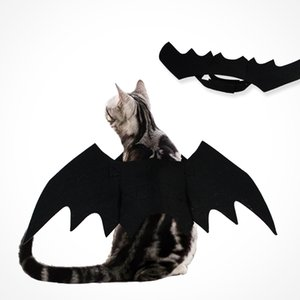Wholesale Cat Clothing Brand Halloween Costume Pet Bat Wing Cool Puppy Cat Black Dress Holiday Decoration Allhallow