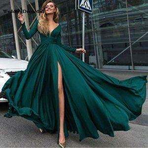 Sexy Evening Dresses Long Side Split Satin Evening Gowns Long Formal Women Prom Party Gowns Robe De Soiree Abendkleider on Sale