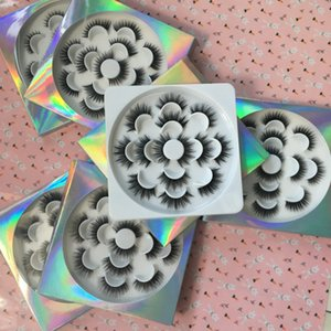 Wholesale 7 Pairs Lashes Faux Mink Eyelashes with Lash Flower Tray Holographic Packaging Same Styles in One Tray G EASY