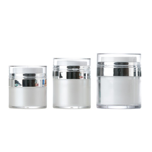 Wholesale Pearl White Acrylic Airless Jar Cream Jar With Silver Collar ML Cosmetic Vacuum Lotion Jar Pump Bottle Free DHL