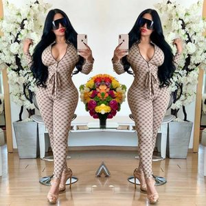 Womens Designer Jumpsuit Luxury Printing Womens Rompers Sexy Deep Neck Clothes for Wholesale 3 Colors Sexy Clothing