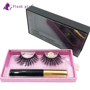 Wholesale flash eyelashes resale online - Flash girl High Quality pair D mink Magnetic Eyelashes Luxury box Magnetic Liquid Eyeliner Magnetic False Eyelashes and Tweezer D W14