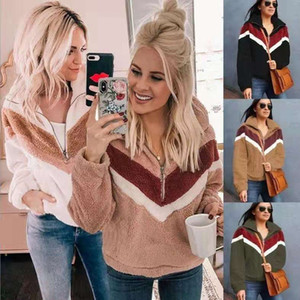 2019 explosion models autumn and winter fashion stitching zipper blouse plush sweater