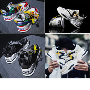 Wholesale 2019 INS ABO shoes Chain Reaction ulzzang Dad Black Casual shoe White Mesh Rubber Leather Flat Men women Fashion Sneakers