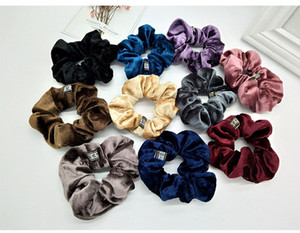 Solid Color Lady Hair Scrunchies Ring Elastic Hair Bands Pure Color Bobble Sports Dance Velvet Soft Scrunchie Hairband
