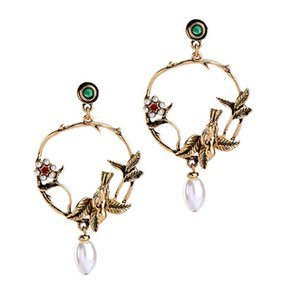 Wholesale Vintage Branch Circle Bird Leaf Flower Pendant Drop Earing Handmade Retro Pearl Zircon Stone Gold Charm Ear Stud Women Jewelry