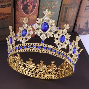 Wholesale KMVEXO Luxury Crystal Queen Full Round Crowns Baroque Royal King Rhinestone Big Tiaras Headpieces Princess Wedding Jewelry Gifts