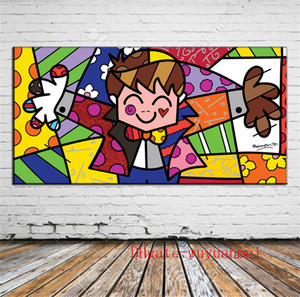 Wholesale Romero Britto Canvas Pieces Home Decor HD Printed Modern Art Painting on Canvas Unframed Framed