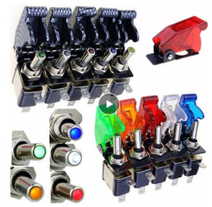Wholesale truck switch for sale - Group buy Auto Car Boat Truck Illuminated Led Toggle Switch With Safety Aircraft Flip Up Cover Guard Red Blue Green Yellow White V20A
