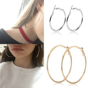 Wholesale 30 MM Big Sexy Hoop Earrings for Women Simple Exaggerated Hoop Loop Smooth Round Female Ear Jewelry Girl Gifts