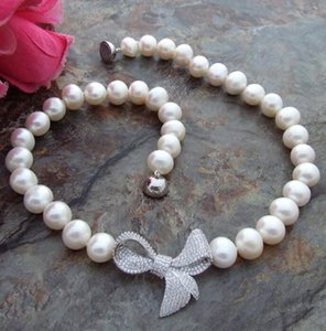 colgante blanco perla 11mm al por mayor-Jewelryr Pearl Necklace MM White Freshwater Pearl Necklace CZ Colgante Envío gratis